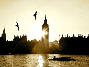 Sunshine rounds Big Ben, by Tony Lobl