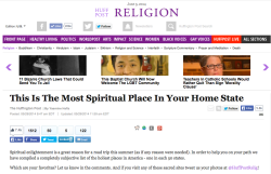"Front page of ""Religion"" in Huffington Post, June 2014."