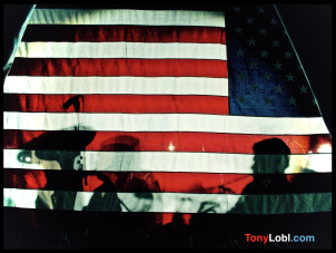 """Stars and Stripes silhouette - 9:11 Vigil At Christian Science Center - Friday. September 14, 2001"" by Tony Lobl"